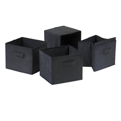 Winsome Capri Foldable Fabric Baskets, Set of 4, Black