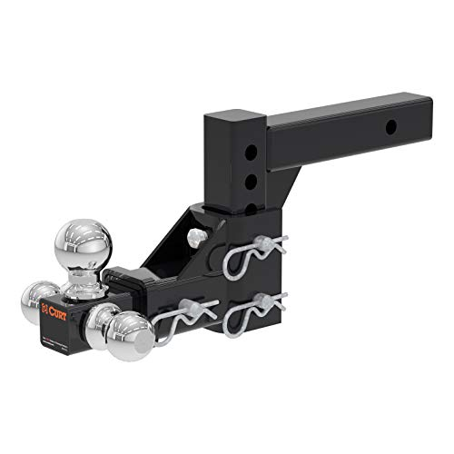 CURT 45799 Adjustable Trailer Hitch Ball Mount Black Fits 2-Inch Receiver, Drop, 5-3/4-Inch Rise, 1-7/8, 2 and 2-5/16-Inch (3 Way Trailer Hitch)