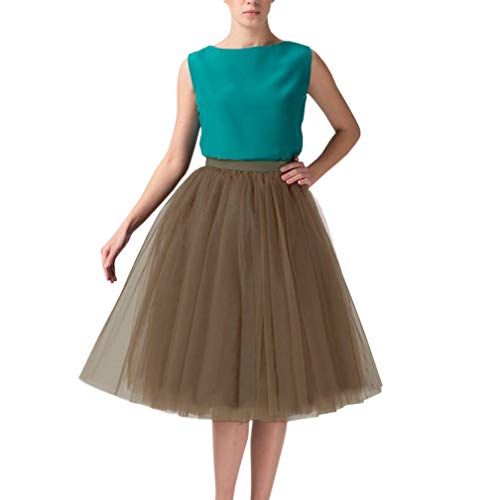 Wedding Planning Women's A Line Short Knee Length Tutu Tulle Prom Party Skirt Large Brown011