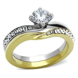 MaiJewelryShop Stainless Steel Two Tone Round CZ Engagement Ring and Wedding Band Set TK1280