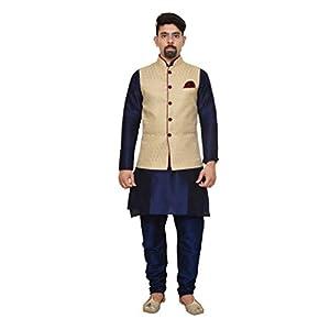 Mag Men's silk Kurta Churidhar With Waistcoat