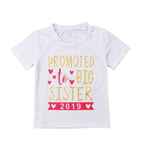 Sibling Shirts for Sister and Brother to be Big Brother and Sister Shirts 2019 Letter Print Matching T-Shirt Outfits (Sister&White, 2-3 Years)