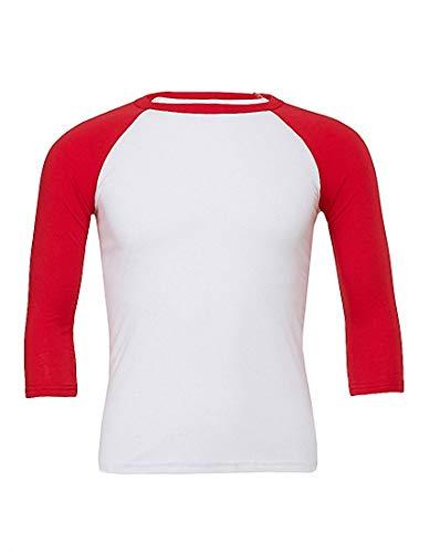 Bi Col Rond colore shirt red Femmes T 3 4 En Manches Pour 2store24 White wqvEPx6Hx