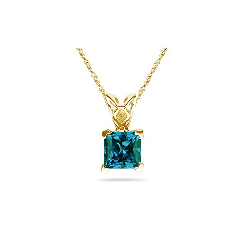 - 1.12-1.50 Cts of 6 mm AAA Princess Russian Lab Created Alexandrite Scroll Solitaire Pendant in 14K Yellow Gold