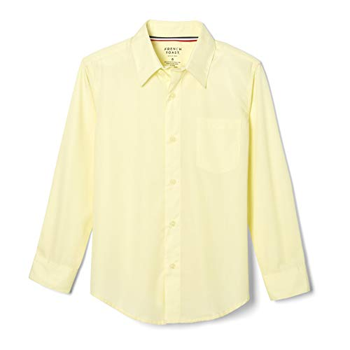 - French Toast Big Boys' Long Sleeve Poplin Dress Shirt, Yellow, 10