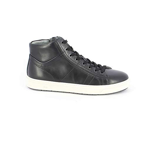 Pulverbeschichtet High Top Pelle Sneaker In Edelstahl weiß YxgPY