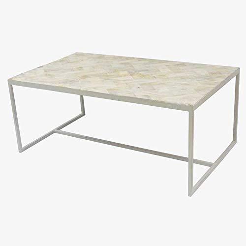 Better & Best 2341252 Mesa de centro, baja, rectangular, con tapa en madera blanca decapada y p