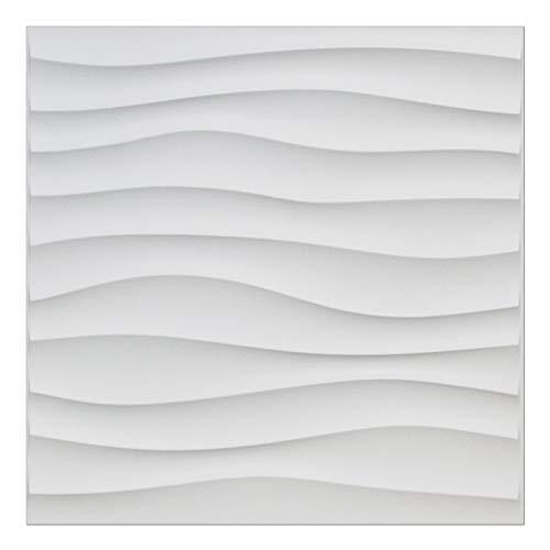 Easy Peel & Stick, Durable Plastic Textured Decorative Modern 3D Wall Panel - Drift Design. 12 Panels. 32 -