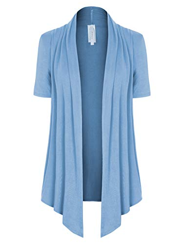 MixMatchy Women's [Made in USA] Solid Jersey Knit Short Sleeve Open Front Draped Cardigan (S-3XL) Light Blue S