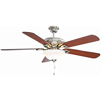 Hampton bay rothley 52 in indoor brushed nickel ceiling fan with indoor brushed nickel ceiling fan with shatter resistant light shade aloadofball Images