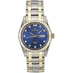 Sartego Men's STBL07 Classic Analog Metallic Blue Face Dial Two-Tone Stainless Steel Case and Swarovski Bezel Watch