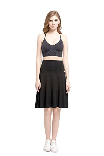 Modeway Womens Modal Solid Stretchy Flared A Line Skater Skirt(Black,M) BD01-2 (Tight Skirts Skin)