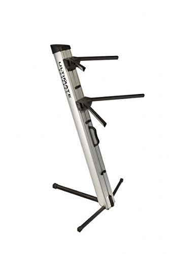 (Ultimate Support APEX AX-48 PRO SILVER APEX Series Two-tier Portable Column Keyboard Stand (Silver))