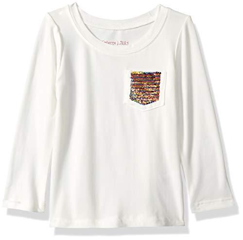 Colette Lilly Girls' Toddler Long Sleeve Sequin Tee, Vanilla Sky Heart, 3T (Vanilla Heart)