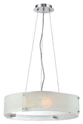 Lite Source LS-19420C/FRO Pendant with Frosted Glass Shades, Chrome Finish