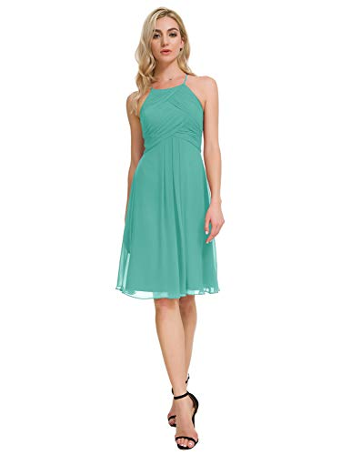 Alicepub Chiffon Bridesmaid Dresses Halter Cocktail Dress Short Homecoming Party Dresses, Tiffany, US12