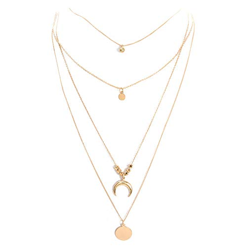 XBKPLO Necklace for Women Multi-Layer Choker Lady Moon Pendant Chain Elegant Wild Gold Accessories Statement Gift Jewelry