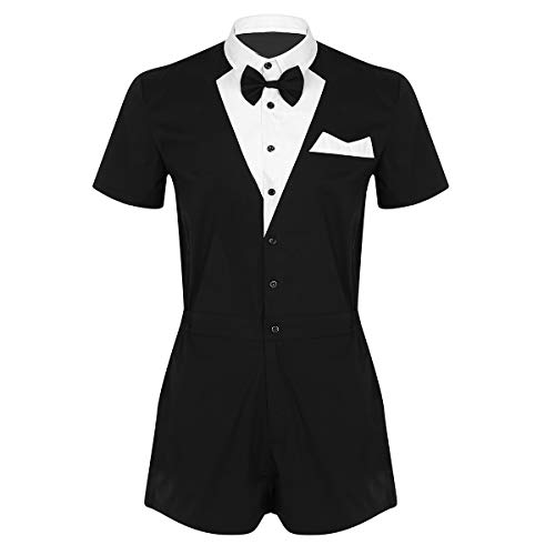 - inlzdz Men's One Piece Tuxedo Bowtie Shirt Boxer Shorts Jumpsuit Outfit Gentleman Waiter Costume Black XX-Large