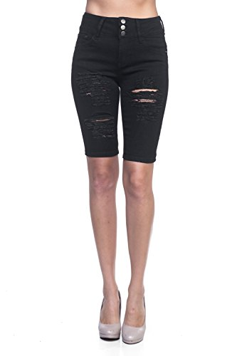 Calilogo Women's Fashion Denim Jean Stretchy Shorts Regular and Plus Sizes (Medium, Distress Berm Bk)