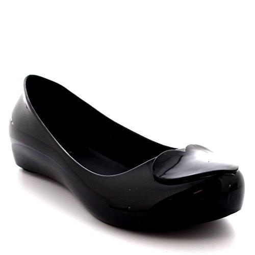Womens Summer Slip On Ballerina Love Heart Work Jelly Flat Ballet Shoes - Black/Black - US8/EU39 - PN0038