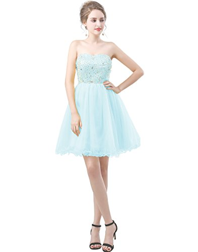 Zechun Womens Short Beads Strapless Tulle Homecoming Dress Bridesmaid Evening Gown SkyBlue US10