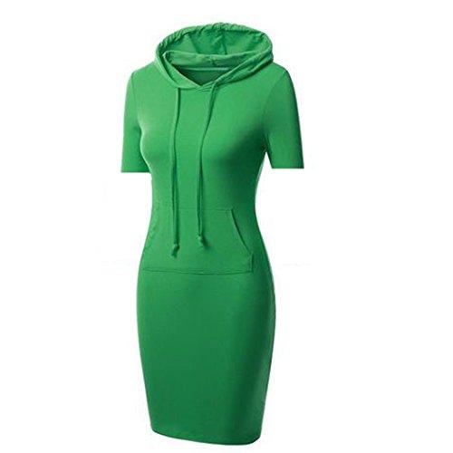 Sweat xxxl 6 taille Pull Capuche Longue Sport M De shirt Mode Casual Vêtement Poche Femme Couleurs Robe Acvip Vert Manches Devant Courtes À EHqFxpRw