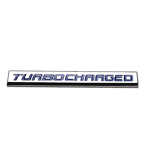 UrMarketOutlet TURBOCHARGED Blue/Chrome Aluminum Alloy Auto Trunk Door Fender Bumper Badge Decal Emblem Adhesive Tape Sticker