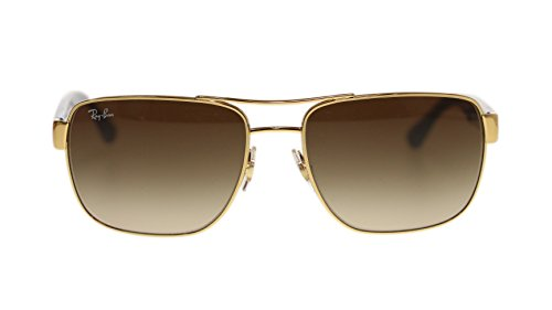Ray Ban Mens Sunglasses RB3530 001/13 Gold Brown Gradient Lens 58mm Authentic