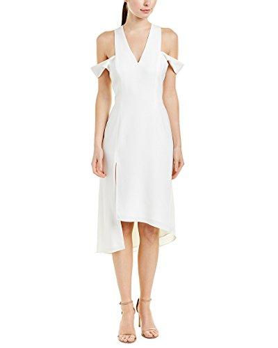 Halston Heritage Women's Sleeveless V Neck Asymmetrical Skirt Dress Slit Shoulder, Chalk, M Lined V-neck Skirt