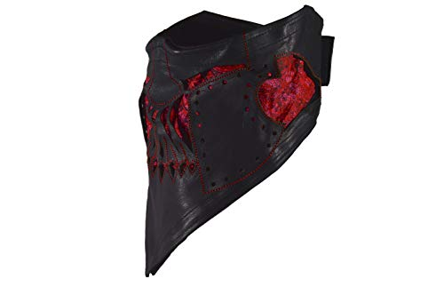 Leather Face Motorcycle Mask Leather Half Face Mask Spartan Mask (Red)