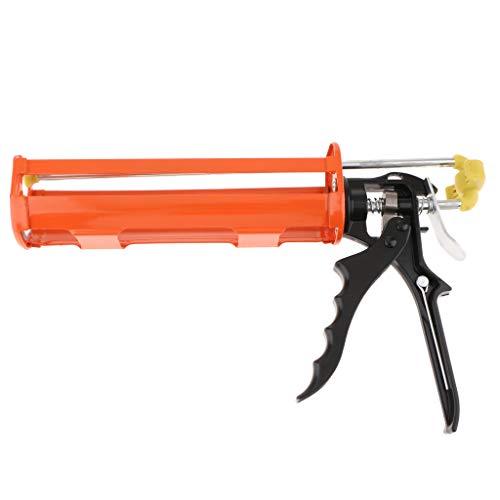 Flameer Aluminum Alloy Silicone Gun Glass Caulking Squeeze Caulk Gun Workforce Multifunction Used to Squeeze Cylindrical Glue Orange