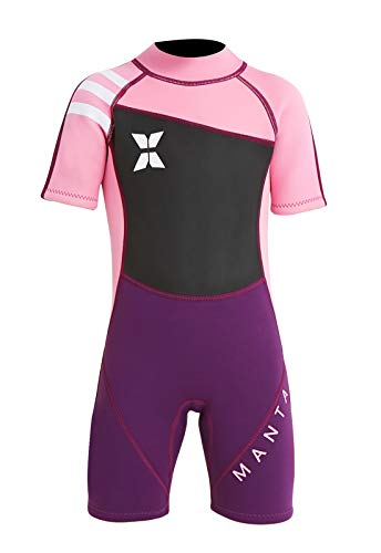 DIVE & SAIL Kids Shorty Wetsuit Short Sleeve Thermal Warm Swimsuit UPF 50+ Sun Protection Full Suit One Piece Swimwear Pink M