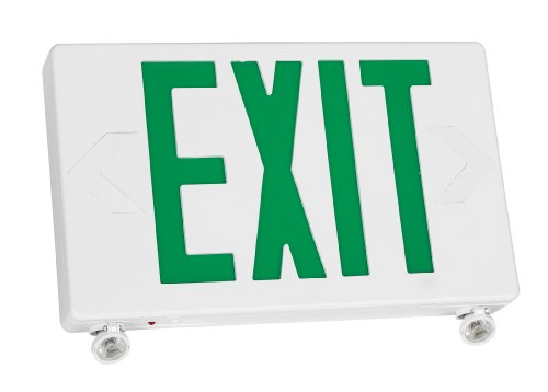 TCP 2 LED Adjustable Exit/Emergency Combo, Green Letters with White (Letters White Housing Battery Backup)