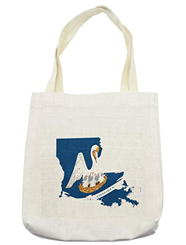 Lunarable Louisiana Tote Bag, Pelican State Flag Map Union Justice Confidence, Cloth Linen Reusable Bag for Shopping Groceries Books Beach Travel & More, Cream