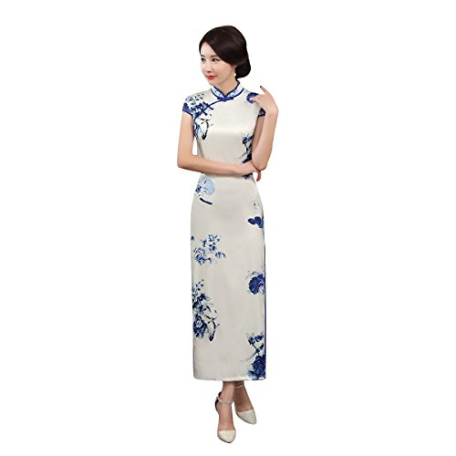 ACVIP Women Cap Sleeve Chinese Paint Floral Maxi Qipao Side Split Cheongsam (China S/Bust:32.3'') by ACVIP