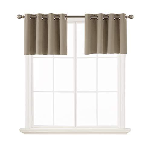 - Deconovo Khaki Valances for Window Kitchen Valance Grommet Tier Curtains for Bathroom 52x18 Inch 2 Panels