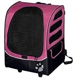 Pet Gear I-Go2 Plus Traveler Rolling Backpack Carrier for cats and dogs, Pink