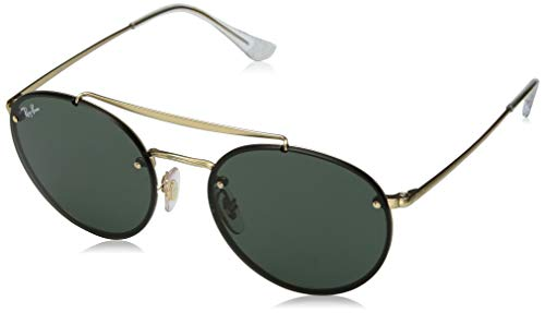 Ray-Ban RB3614N Blaze Round Double Bridge Sunglasses, Gold Demigloss/Green, 54 mm