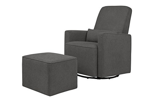 DaVinci Olive Upholstered Swivel Glider with Bonus Stationary Ottoman with Piping, Dark Grey