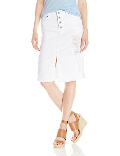 James Jeans Women's Lana Knee Length Raw Hem Skirt, Destr...