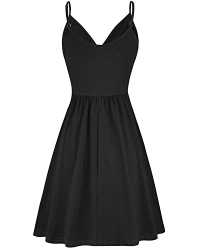 VOTEPRETTY Women's V-Neck Spaghetti Strap Dress Summer Casual Swing Sundress with Pockets 3