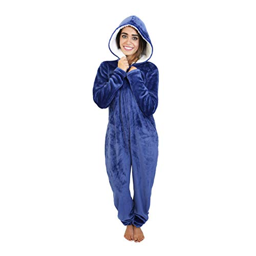 Cherokee Women's Adult Hooded Sleepwear Onesies, Blue Depth, Large