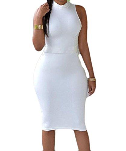 Fuori Sleeveless Colore Del Sottile Solido Forma Randello Bianco Coolred In Di Scava Vestito Sexy donne Il v5pPwPIq