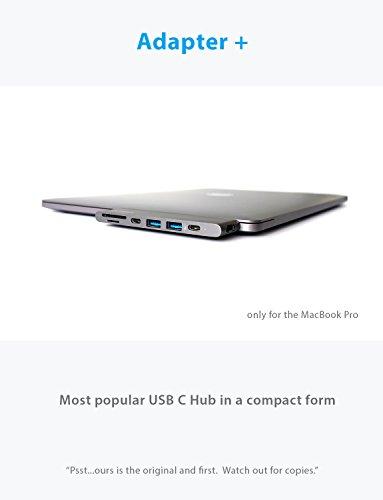 USB C Hub for Apple MacBook Pro 2018, 2017, 2016 - USBC Adapter, Premium MacBar, Thunderbolt 3 (TB3) 40GB/S data, 5K@60Hz, HDMI 4K, Type C, 2 USB 3.0, SD and Micro SD Card Reader, 7in1, Space Gray by CharJenPro (Image #1)