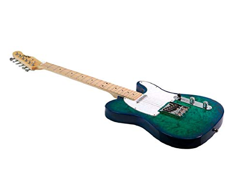 (Monoprice Indio Retro DLX Quilted Maple Top Electric Guitar - Trans Blue Aqua With Heavy-Duty Gig Bag)