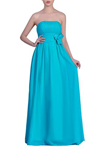 Long Strapless Chiffon A Adorona Line Women's Dress Cyan pxqApwXI5