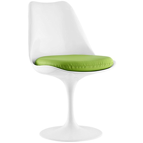 Modway Lippa Modern Dining Side Chair With Faux Leather Cushion in Green