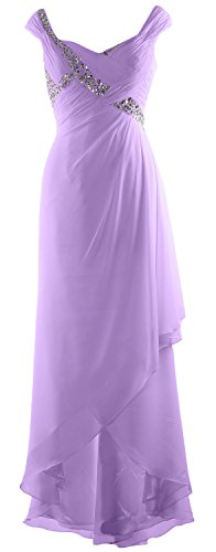 Bride Gown High Elegant Maxi Neck Formal Low Chiffon V Lavendel MACloth Dress Mother of q07xtnz