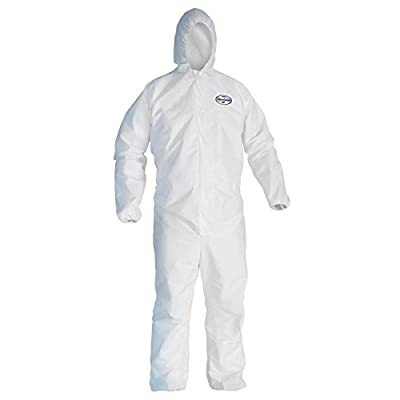 Kleenguard 41503 A45 Liquid and Particle Surface Prep and Paint Protection Coveralls, Hooded, Reflex Design, Zipper Front, Small, White (Pack of 25)