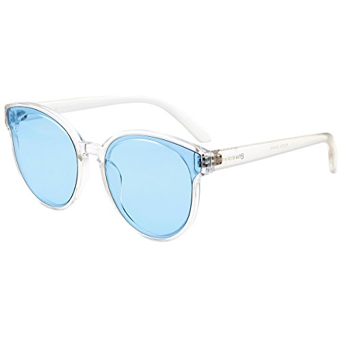 VIVIENFANG Tinted Color Cateye Sunglasses Lightweight Flat Lens Oversized Shades For Unisex P2253C Blue Lens